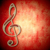 Music red  card copy space. Musical symbol on metal, red background texture with empty space for writing Royalty Free Stock Image