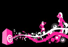 Music release. Illustration with dancing people and music elements Stock Images