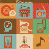 Music retro icons Royalty Free Stock Photos