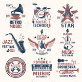 Music Retro Style Emblems Stock Photo
