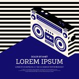 Music retro vintage poster background. Boombox radio music retro vintage style poster background, design element template can be used of backdrop, brochure Stock Photo