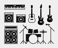 Music rock band instruments set. Piano, amplifiers and combo amp, drums, acoustic and electric guitars and bass guitar, microphone stock illustration