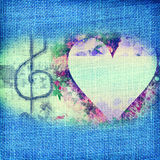Music Romantic card,heart and treble clef Royalty Free Stock Photography
