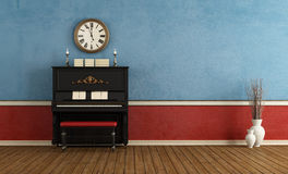 Music room with  black vertical piano Royalty Free Stock Photos