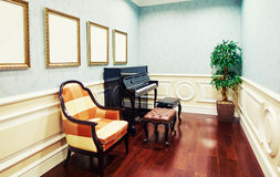 Music study room with piano. And chairs Royalty Free Stock Images