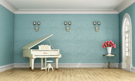 Music room with white grand piano Royalty Free Stock Photos