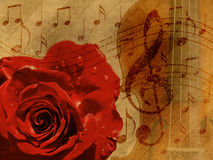 Music rose background Royalty Free Stock Photos