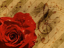 Music rose red background. Abstract grunge rose and notes, vintage music background Stock Photos