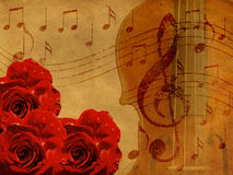 Music Roses And Violin Background Royalty Free Stock Photography
