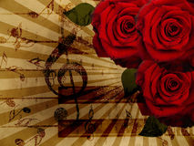 Music roses and piano background. Abstract grunge rose and notes, vintage music background Stock Photos