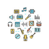 Music Round Design Template Thin Line Icon. Vector Royalty Free Stock Photos