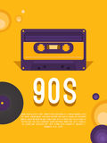 Music of the 90s. Poster music of the 90s and 80s. Flyer template with audio cassette and vinyl record. Vector background for invitation, card, ticket, banner Stock Images
