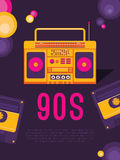 Music of the 90s. Poster music of the 90s and 80s. Template flyer with cassette tape recorder. Vector background for invitation, card, ticket, banner, label Stock Images