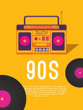 Music of the 90s. Poster music of the 90s and 80s. Template flyer with cassette tape recorder and vinyl record. Vector background for invitation, card, ticket Stock Image