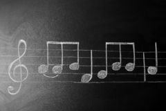 Music scale with treble clef and notes on chalkboard