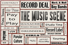 The Music Scene. A collage of all the usual words associated with rock and roll anywhere Royalty Free Stock Image