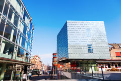 Music school and Glass Palace in Heerlen, Netherlands. Heerlen, Netherlands - April 11, 2016: town heart of Heerlen with music school and Glass Palace. Heerlen stock photography