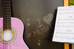Music school of guitar for children Royalty Free Stock Images