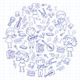 Music school for kids Vector illustration Children singing songs, playing musical instruments Kindergarten Doodle icon. Children singing songs, playing musical Royalty Free Stock Photography