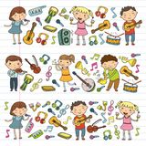 Music school for kids Vector illustration Children singing songs, playing musical instruments Kindergarten Doodle icon. Children singing songs, playing musical Stock Photo