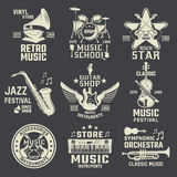 Music School And Shops Monochrome Emblems Royalty Free Stock Photo
