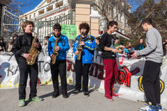 Music schools protest in Thessaloniki - Greece Stock Photos