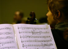 Music score. On orchestra rehearsal Stock Photography
