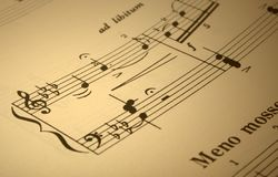 Music score. Focus is only on a few notes (center-left Royalty Free Stock Photography