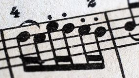 Music score background : piano notes, Close up. Macro royalty free stock images