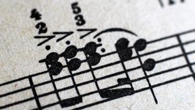 Music score background : piano notes, Close up. Macro royalty free stock image