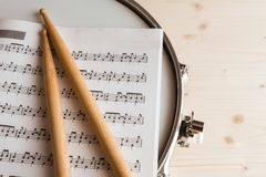 Music score and drumsticks over a snare drum stock photo