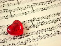 Music score & heart Royalty Free Stock Photo