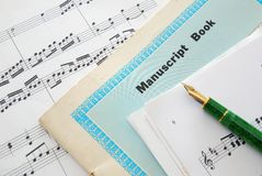 Music score, manuscript and pen. For music composition. For concepts such as music and creativity Royalty Free Stock Photography