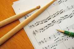 Music score and pen Royalty Free Stock Image