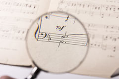 A music score. View of the notes in a music score through a magnifying lens Stock Photography
