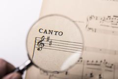A music score. View of the notes in a music score through a magnifying lens Royalty Free Stock Image