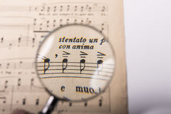 A music score. View of the notes in a music score through a magnifying lens Royalty Free Stock Photography