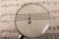 A music score. View of the notes in a music score through a magnifying lens Stock Photo