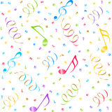 Music seamless background. Seamless background with notes and confetti Stock Photo