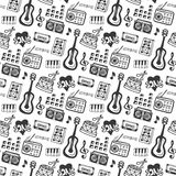 Music seamless pattern with doodle musical instruments and sound elements . Vector illustration music print.  stock illustration