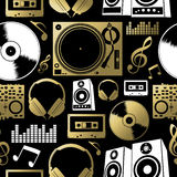 Music seamless pattern icon dj rock party club set Royalty Free Stock Photography