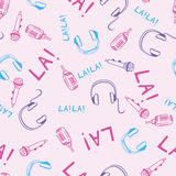Music seamless pattern. With microphones and headphones Stock Photography