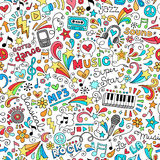 Music Seamless Pattern Notebook Doodles Vector Ill. Music Groovy Doodles Illustration Hand-Drawn Design Elements Stock Photos