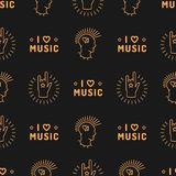 Music seamless pattern Punk Mohawk Hand Rock N Roll Sign Stock Photo