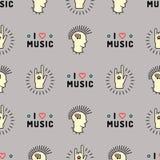 Music seamless pattern Punk Mohawk Rock Grunge style Royalty Free Stock Image