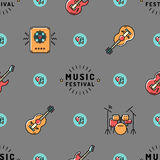 Music seamless pattern, Rock festival design. Music Festival seamless pattern thin line art minimal design. Icons: guitar, sound speaker, drum set, heart, note Royalty Free Stock Photography