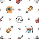 Music seamless pattern, Rock festival vector design. Music Festival seamless pattern thin line art minimal design. Icons: guitar, sound speaker, drum set, heart Royalty Free Stock Photo
