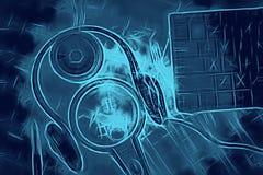 Music search. keyboard magnifier speaker sheets music pen earphone stock photo