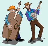 Music series- banjo and contra bass player. Illustration of two musician duet playing banjo and contra bass on the stage, with light blue background Royalty Free Stock Photos