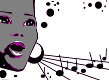 Singer Woman Music Jazz Blues Comics Cartoon Stock Photo